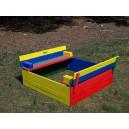Dřevěné pískoviště s lavičkou - barevné