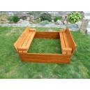 Dřevěné pískoviště s lavičkou - kaštan
